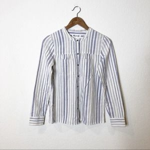 Madewell Collarless Striped Button Front Blouse